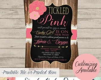 Rustic Lace Girls Baby Shower Invitation