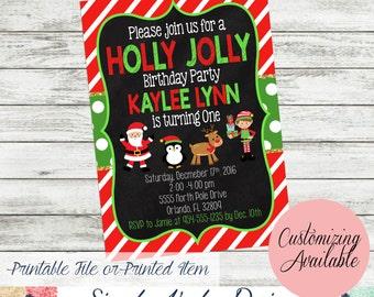 Holly Jolly Christmas Birthday Party Invitation