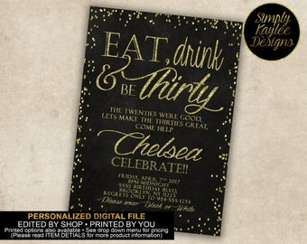 Eat, Drink, be Thirty Birthday Party Invitation