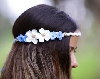 baby blue and white flowered handband
