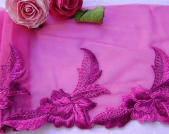 3.00 metres Beautiful Bright Fuchsia Embroidered Tulle