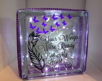 Memorial glass light block, light up gift, remembrance gift