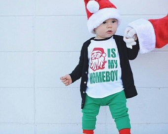 funny Christmas shirt, boy christmas shirt, toddler Christmas shirt, santa is my homie, christmas raglan, Holiday shirt, cute Christmas