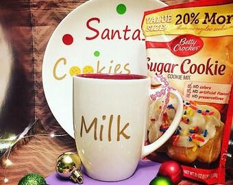 Santa's Cookies and Milk Plate and Mug Set