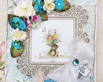 Handmade Greetings card, 'for you' with flowers, ribbon, diamante etc