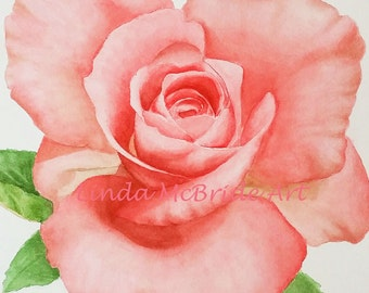 Judy's Rose 3x3 gift enclosure card from my original watercolor painting with envelope.
