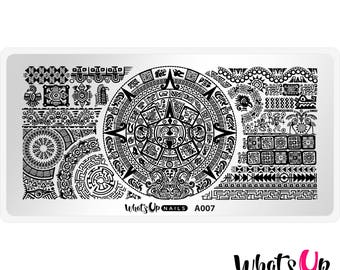 A007 Aztec Countdown Stamping Plate For Stamped Nail Art Design