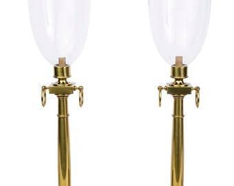 Magnificent Pair Of Mid-Century Modernist Hurricane Lamps By Tommi Parzinger