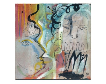 Modern/contemporary art - abstract-figurative painting picture 15/15 cm (5.9/5.9 inch)