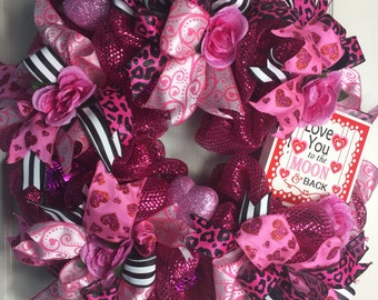 I love you to the moon and back! Valentine's Day Font Door Wreath