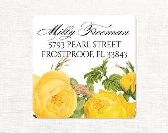 personalized return address label - YELLOW ROSE - square label - address sticker - flower label - set of 48