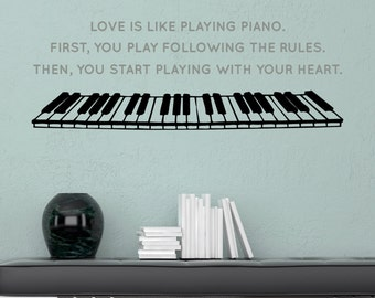 Piano Love - Vinyl Wall Decal Quote