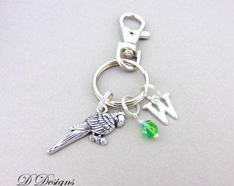 Parrot Bag Charm, Parrot KeyRing, Parrot KeyChain, Parrot Gifts, Parrot Clip Keyring, Bird KeyChain, Bird Gifts, Bird Keyring