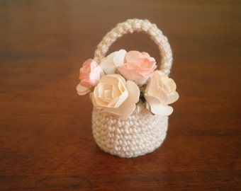 FREE SHIPPING, Miniature Crochet Basket with a Handle, 1:6 scale Basket for Dolls, Cotton Basket, Shabby Chic Doll House Basket