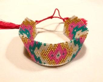 Friendship Bracelet beaded woven with tassel and tassel