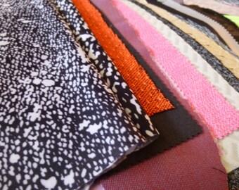 Fabric remnants lot,mixed textile scraps,Jacquard,knit,sublimation,mesh,bundle,polyester,nylon,floral,color shift,samples