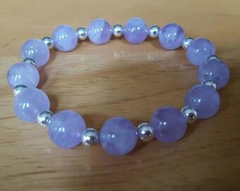 Amethyst stretchy bracelet, amethyst elastic bracelet, gifts for her, February birthstone, February birthday gift, gemstone jewellery