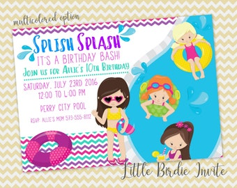 Pool Party Birthday Invitation, Swimming Birthday Invitation, Printable Birthday Invitation, Digital Birthday Invitation, Pool Party Invite