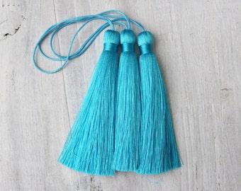 3.5 Luxury Long Silk tassel Dark Turquoise Blue Mala Beads tassel Pick Your Quantity DIY Fashion Earring Making A032