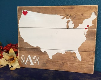 United States Wood Sign • Custom Home State Sign • State Pride Sign • Rustic state sign • Monogram wedding gift • Hometown Gift with hearts