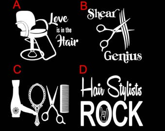 Hair Stylist Decals Etsy - Hair stylist custom vinyl decals for car