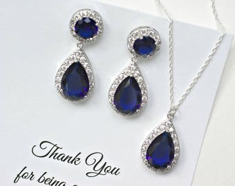 Navy Blue Jewelry Sets for Bridesmaids, Navy Blue Wedding Jewelry, Navy Blue Necklace and Earrings Set, Blue Bridal Jewelry, MP1