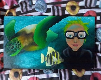 Original Scuba diver oil painting on wooden board (Only one available)