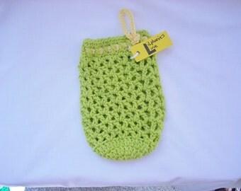 Water Bottle Holder, Green Mesh Cotton Yarn Crochet Water Bottle Holder, Crochet Water Jug Cozy, Hiking, Walking Drink Supplies
