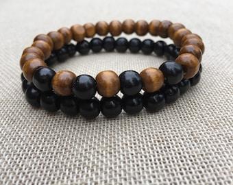Men's Beaded Bracelet Wooden Beads Bracelet Stacking Bracelet Set Bracelet Wooden Jewellery Men's Jewellery Unisex Jewellery Gift Gor Men