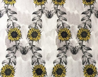 Sunflowers Print Velvet Fabric, sophisticated floral design, colourful textile ideal for cushion, curtains, leaves illustration grey yellow