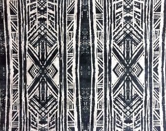 Navy White Cotton Linen Fabric in Aztec Lino Print, bold geometric design suitable for home decor project, dressmaking, unique large print