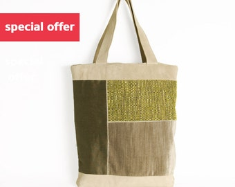 Summer Special offer, Summer accessory, Gift for her, Unique bag, Beige suede and olive green bag, patchwork bag, bohemian style