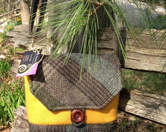 Harris Tweed Yellow and Green Plaid Cross Body Shoulder Bag