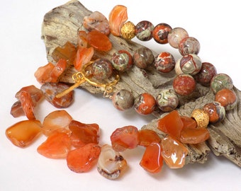 Orange Necklace for Women, Carnelian Necklace, Multi Gemstone Necklace, Handcrafted Jewelry, Chunky Statement Necklace, Short Necklace