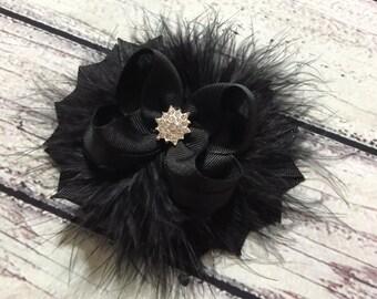 Black Christmas Hair Bows , Black Stacked Hair Bow , Black Boutique Hair Bows, Black Hair Bow, Fancy Boutique Hair Bow