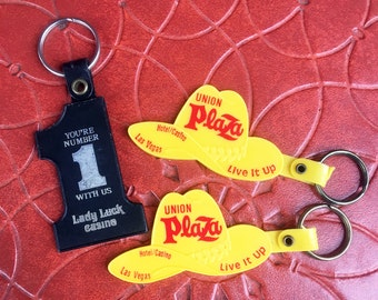 Vintage Keychains from Las Vegas Viva Las Vegas Rat Pack Casino Souveniers Union Plaza Cowboy Hat and Lady Luck Number 1