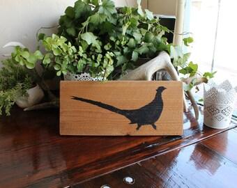 Pheasant on Barn Wood // Rustic Home Decor
