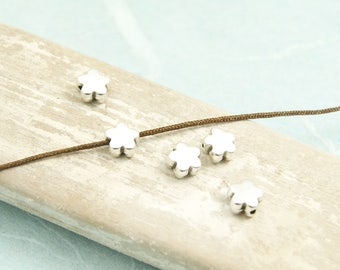 10x Metal beaded flower 6mm silver plated #4070