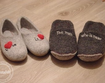 set for him and her - gift - felted slippers - women hause slipper - natural felt wool slippers