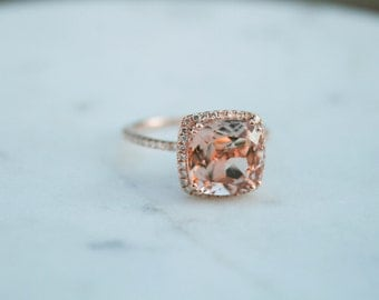 Cushion Morganite, Diamond Halo Rose Gold Morganite Engagement Ring, Rose Gold Morganite Ring, Diamond Halo around Morganite