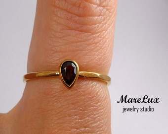 Rose Golden Natural Garnet Faceted Ring, 5x3mm Teardrop Red Garnet Stacking 14K Rose Gold Plated Ring Genuine Garnet Stacker 14K Gold Facets