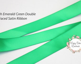 Emerald Green Ribbon, 7/8 Inch, Double Faced, 5 Yards, Emerald Ribbon, Satin Ribbon, Green Satin Ribbon, Bouquet Ribbon, Holiday Gift Wrap