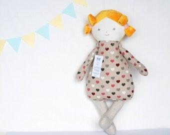 Cloth baby doll ELLA, Handmade Dolls. Fabric Dolls, soft doll, baby shower, stuffed doll, homemade dolls, sleeping Baby Doll