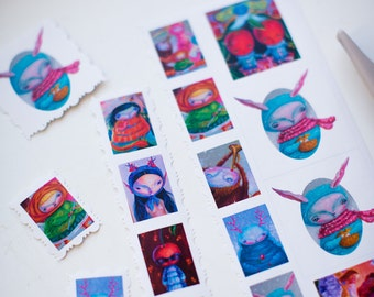 Popsurrealistic  Sticker Sheet with cherries, bunnies etc. Stickers.