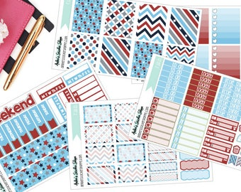Red White and Blue Memorial Day or Fourth of July Weekly Kit for ECLP Vertical Planner Stickers