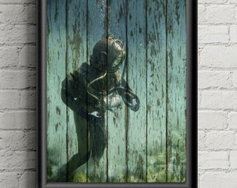 Scuba Diver Wall Art Print - Rustic Decor-Beach Decor- Coastal Decor- Ocean Art- Diver Decor- Under The Sea- Nautical Decor- Bathroom Decor