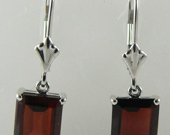 Garnet Earring 5.19ct 14k White Gold Lever Backs