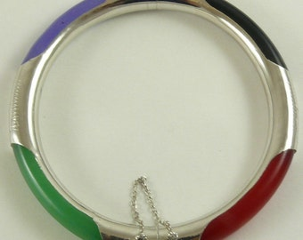 Jade Multi-Color and Black Onyx Bangle with Silver 7 Inches
