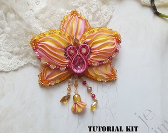 "Shibori TUTORIAL KIT (limited edition) - Brooch-Pendant ""Orchid"", brooch with shibori ribbon, Shibori and Soutache pendant-brooch"
