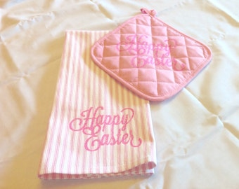 Kitchen Towel with Matching Pot Holder-Easter-Spring-Gift